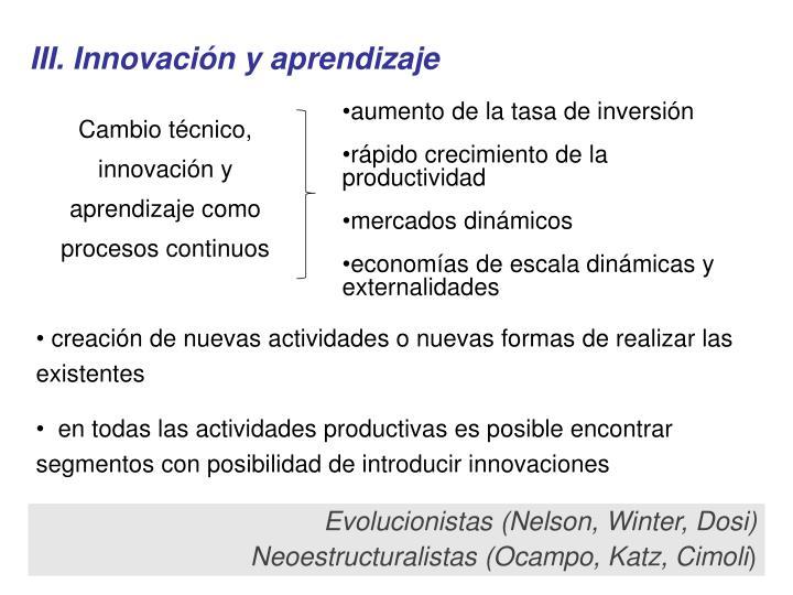 III. Innovación y aprendizaje