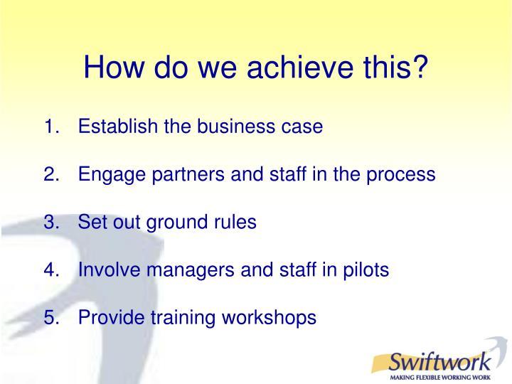 Establish the business case