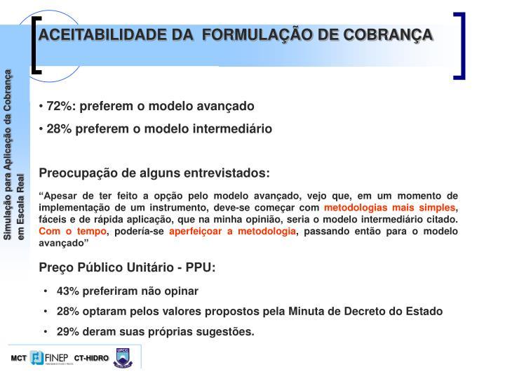 ACEITABILIDADE DA  FORMULAÇÃO DE COBRANÇA