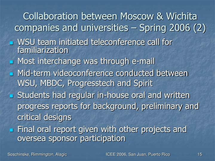 Collaboration between Moscow & Wichita companies and universities – Spring 2006 (2)