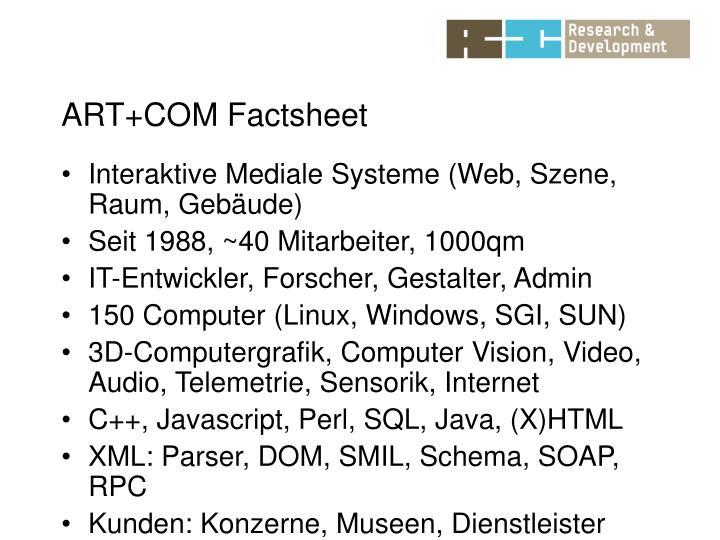 ART+COM Factsheet
