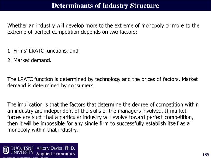 Determinants of Industry Structure