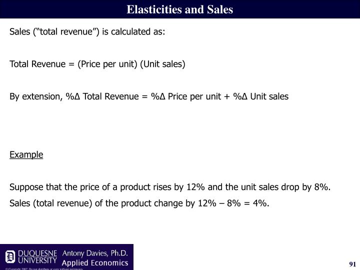 Elasticities and Sales