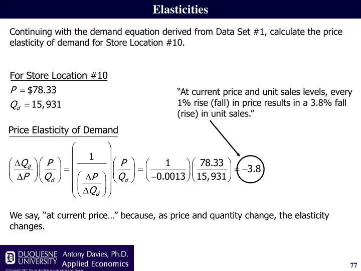 """""""At current price and unit sales levels, every 1% rise (fall) in price results in a 3.8% fall (rise) in unit sales."""""""