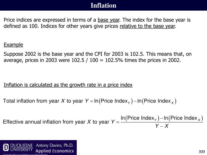 Inflation is calculated as the growth rate in a price index