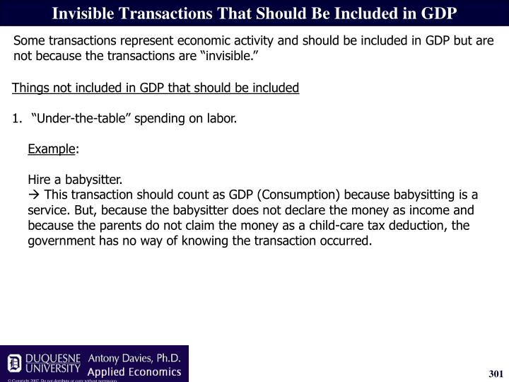 Invisible Transactions That Should Be Included in GDP