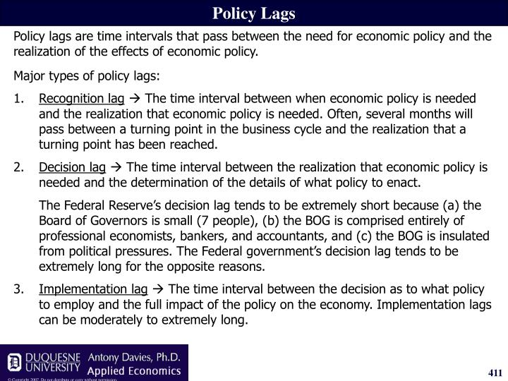 Policy Lags