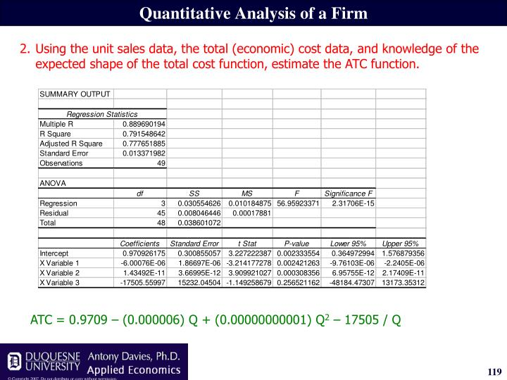 ATC = 0.9709 – (0.000006) Q + (0.00000000001) Q