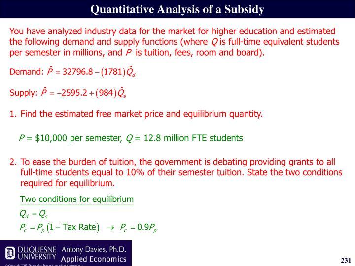 Quantitative Analysis of a Subsidy