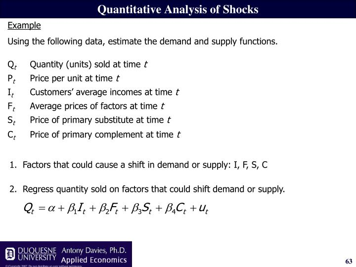 2.Regress quantity sold on factors that could shift demand or supply.