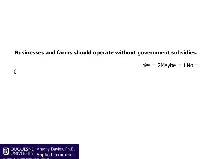 Businesses and farms should operate without government subsidies.