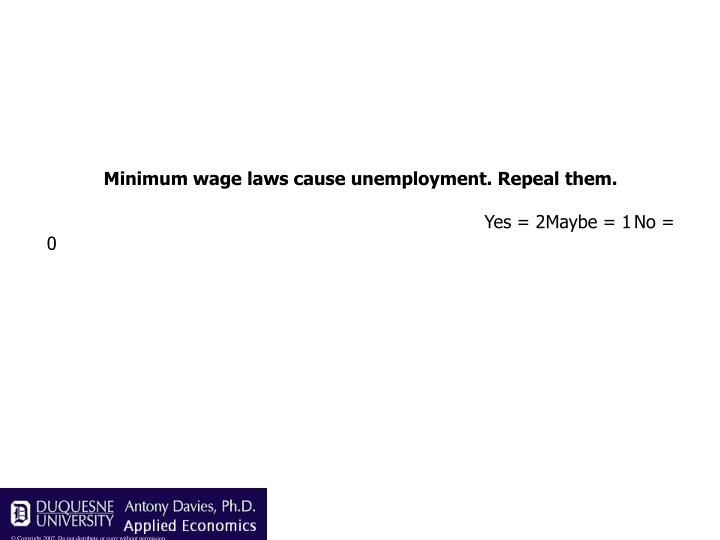 Minimum wage laws cause unemployment. Repeal them.