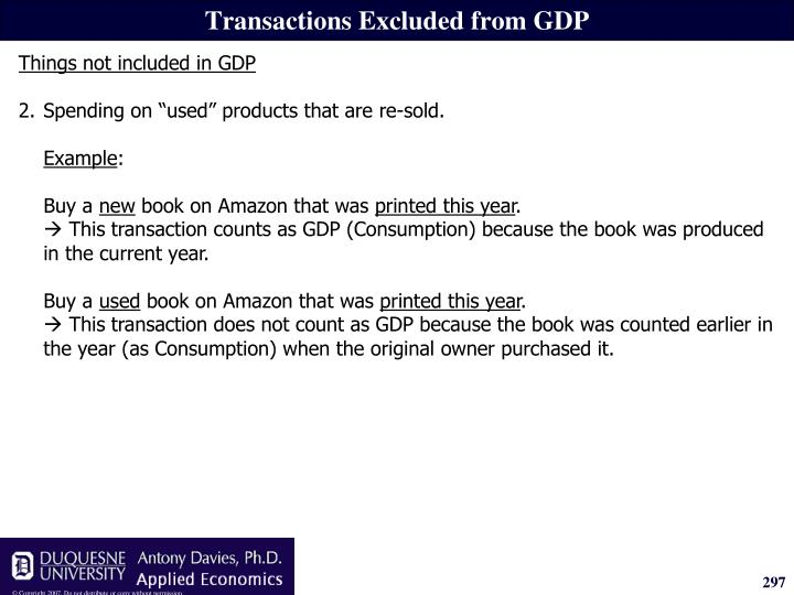Transactions Excluded from GDP