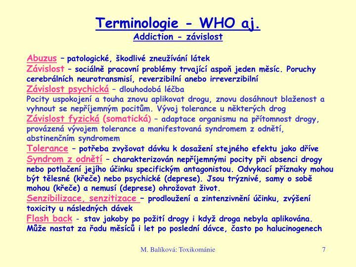 Terminologie - WHO aj.