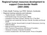 regional human resources development to support cross border health 2001 2006