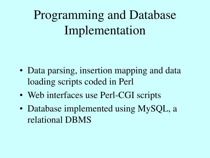 Programming and Database Implementation