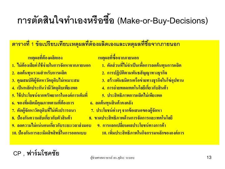 การตัดสินใจทำเองหรือซื้อ (Make-or-Buy-Decisions)