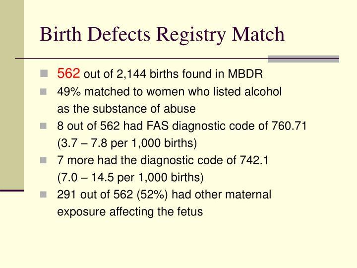 Birth Defects Registry Match