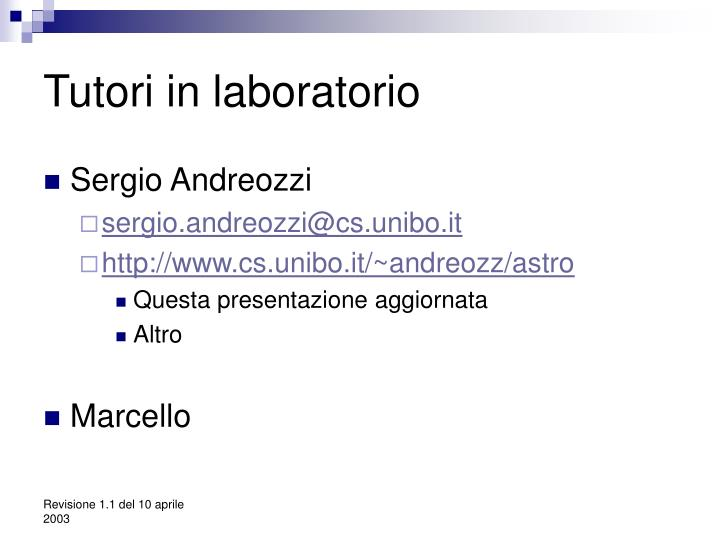 Tutori in laboratorio