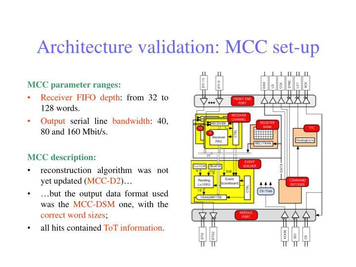 Architecture validation: MCC set-up