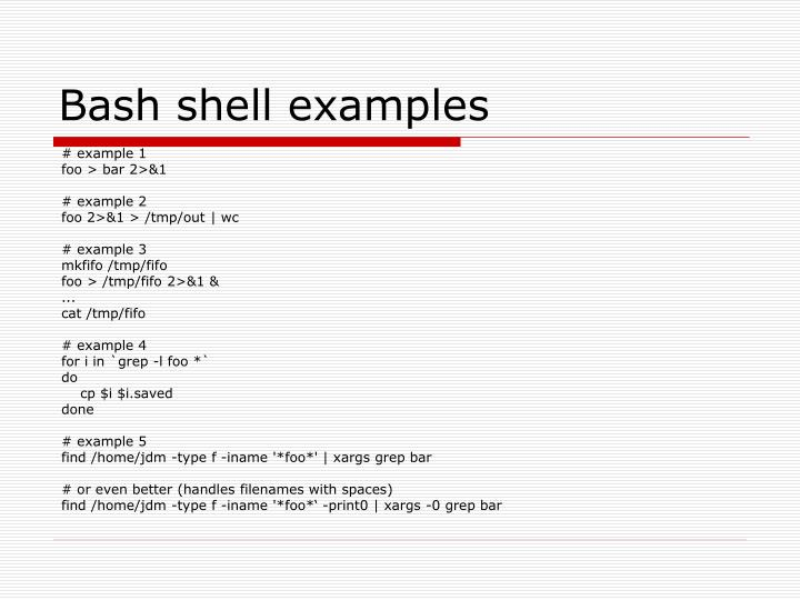 Bash shell examples