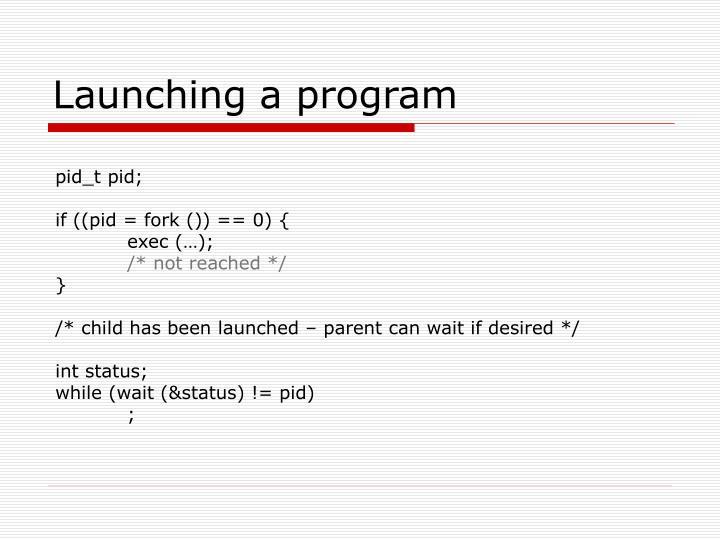 Launching a program
