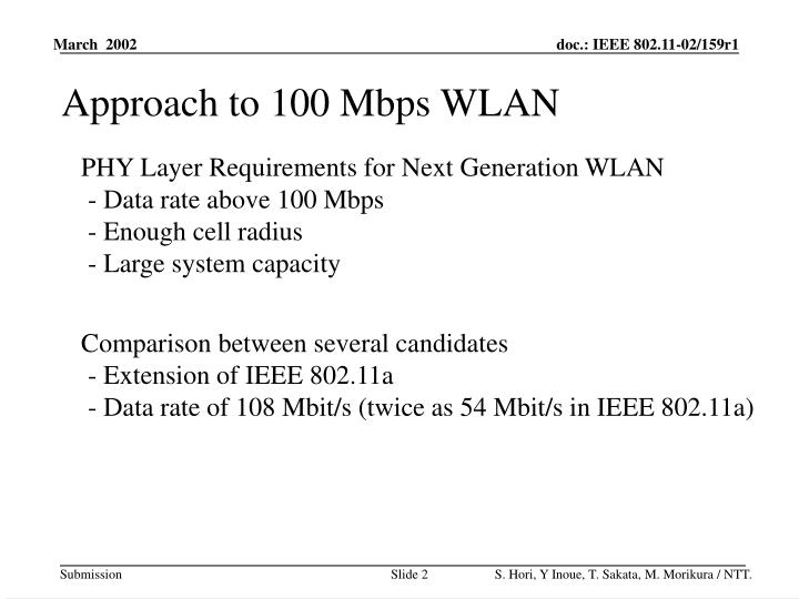 Approach to 100 Mbps WLAN