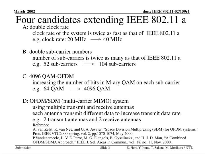 Four candidates extending IEEE 802.11 a