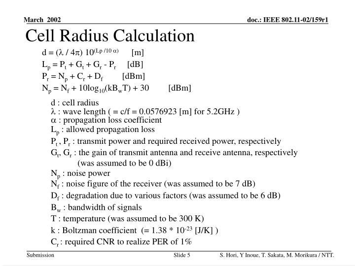 Cell Radius Calculation