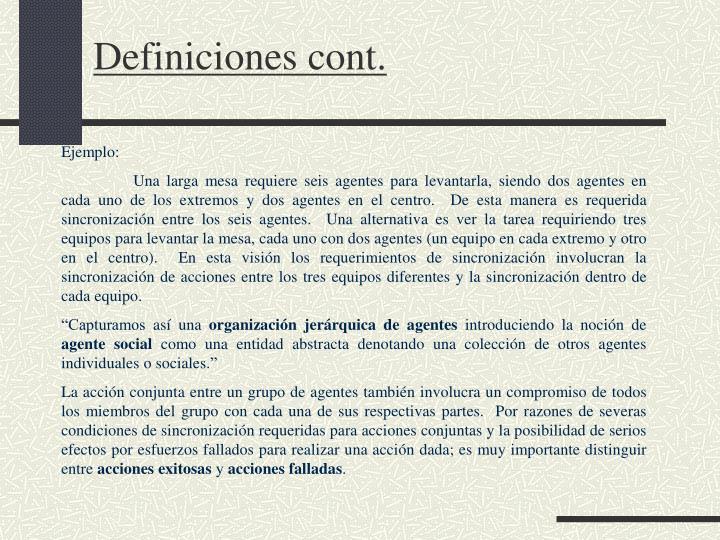 Definiciones cont.