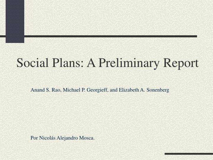 Social plans a preliminary report