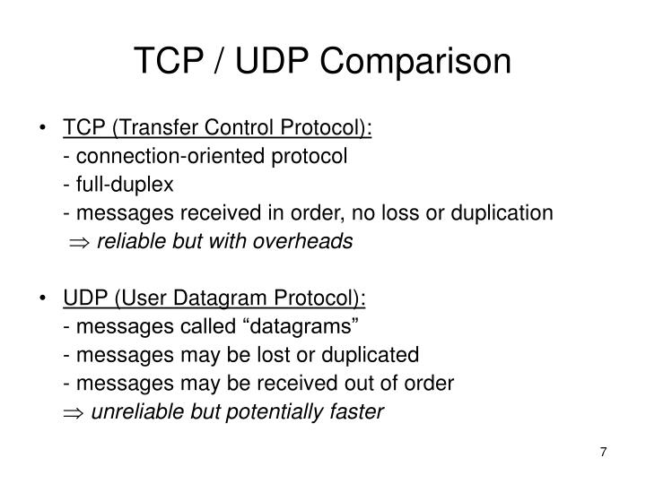 TCP / UDP Comparison