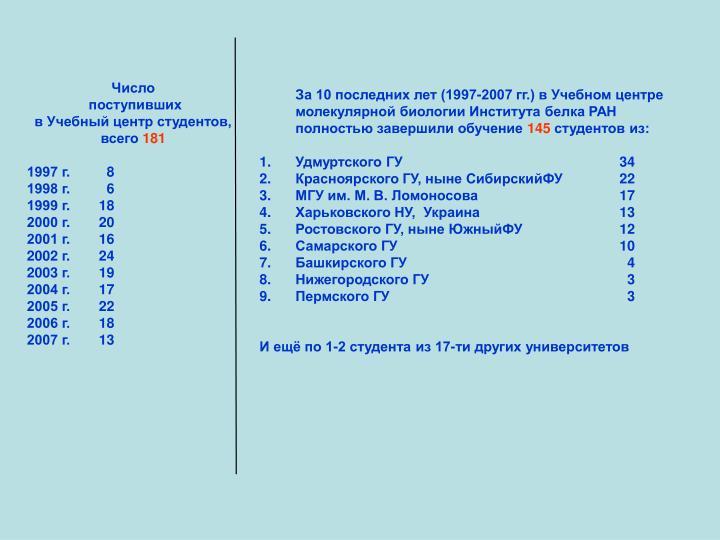 За 10 последних лет (1997-2007 гг.) в Учебном центре молекулярной биологии Института белка РАН полностью завершили обучение
