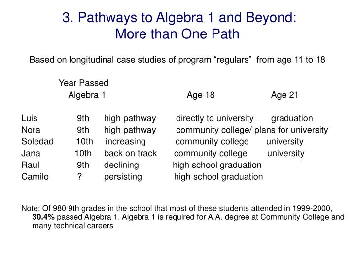 3. Pathways to Algebra 1 and Beyond: