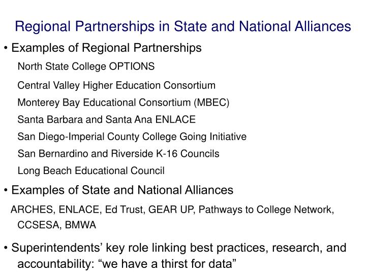 Regional Partnerships in State and National Alliances
