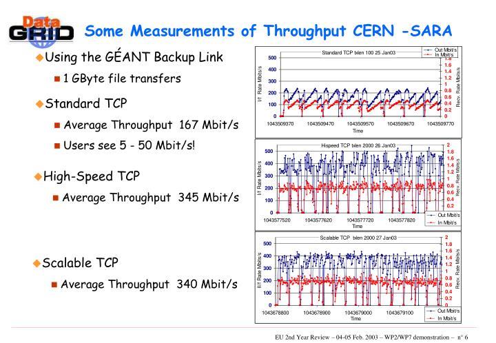 Some Measurements of Throughput CERN -SARA