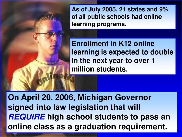 As of July 2005, 21 states and 9% of all public schools had online learning programs.