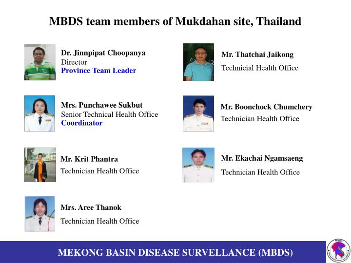 MBDS team members of Mukdahan site, Thailand
