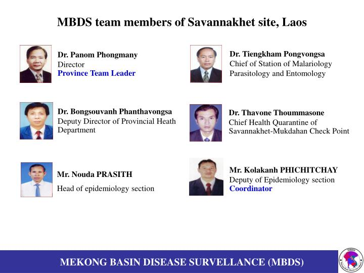 MBDS team members of Savannakhet site, Laos