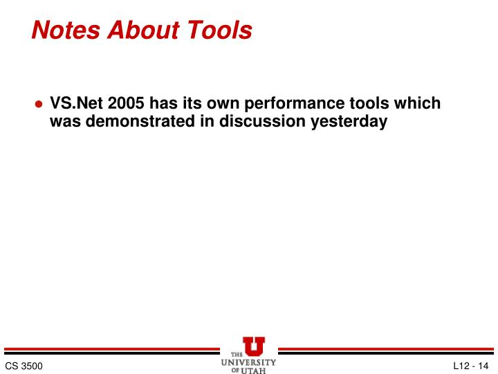 Notes About Tools