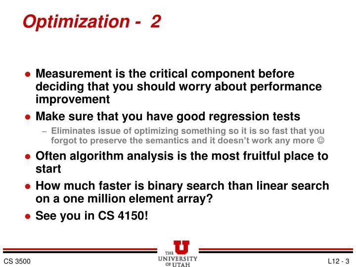 Optimization -  2