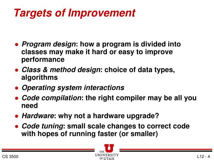 Targets of Improvement