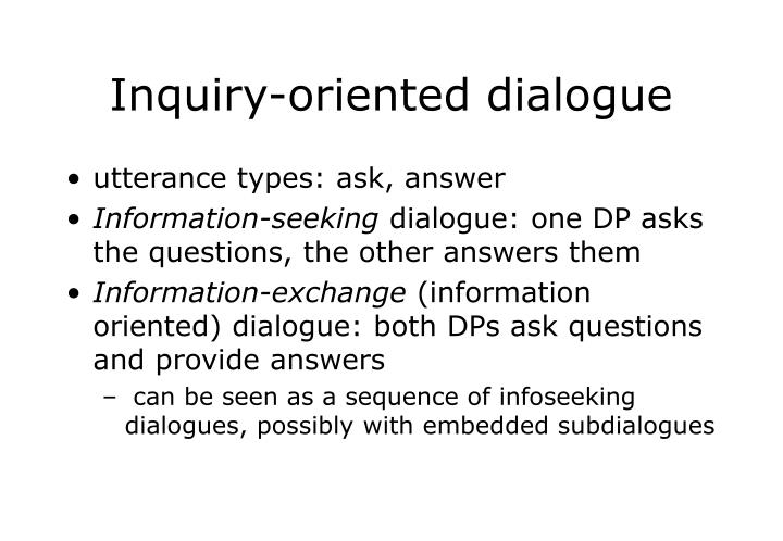Inquiry oriented dialogue