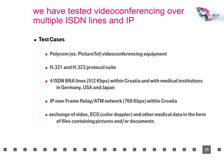 we have tested videoconferencing over multiple ISDN lines and IP
