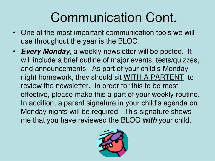 Communication Cont.