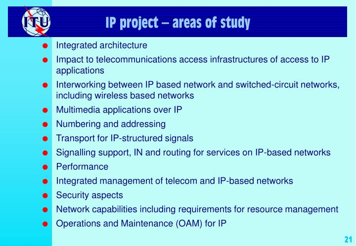IP project – areas of study