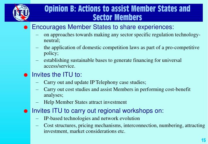 Opinion B: Actions to assist Member States and Sector Members