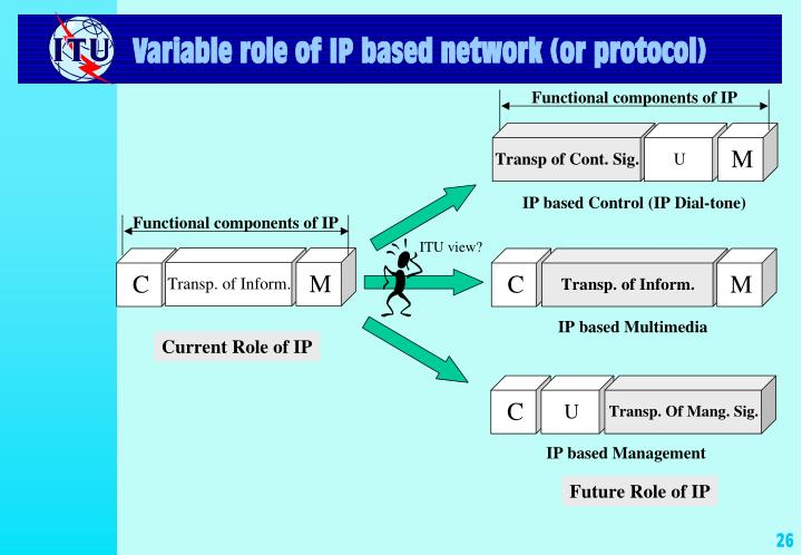 Variable role of IP based network (or protocol)