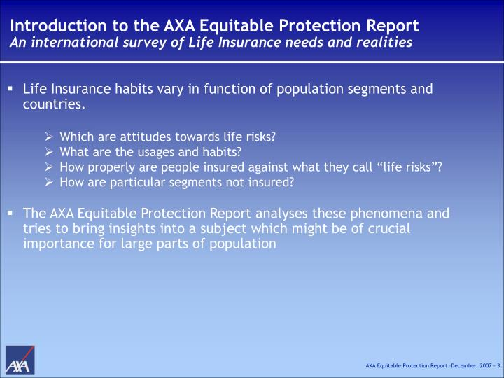 Introduction to the AXA Equitable Protection Report