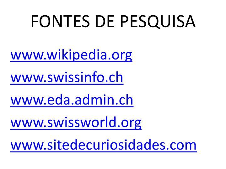 FONTES DE PESQUISA